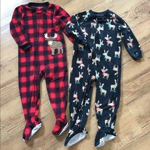 just one you by Carter's Pajamas - Set of 2 fleece moose footie pajamas